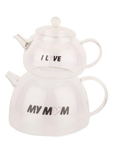 Borosilikat Cam Love Mom Çaydanlık Takımı-Tantitoni